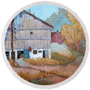 Barn Door Whimsy Round Beach Towel