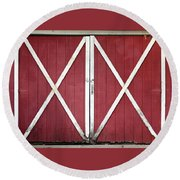 Round Beach Towel featuring the photograph Red Barn Doors by Sheila Brown