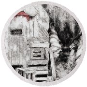 Barn House And Blood On Door Round Beach Towel
