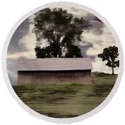 Barn II A Digital Painting Round Beach Towel