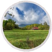Barn In The Meadow Round Beach Towel