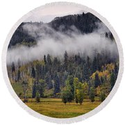 Barn In The Mist Round Beach Towel