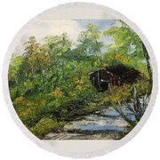 Barn In The Woods Round Beach Towel