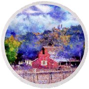Barn On Ca Highway 154 Round Beach Towel by Joseph Hollingsworth