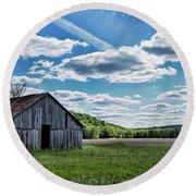 Round Beach Towel featuring the photograph Barn On Cedar Creek Bottoms by Cricket Hackmann