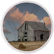 Barn On The Hill Round Beach Towel by Kathy M Krause