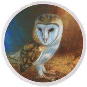 Barn Owl Blue Round Beach Towel