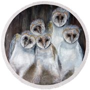 Barn Owl Chicks Round Beach Towel