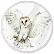 Barn Owl Flying Watercolor Round Beach Towel