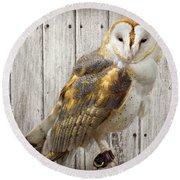 Barn Owl Round Beach Towel by Kathy M Krause