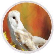 Barn Owl Round Beach Towel by Suzanne Handel