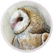 Barn Owl Watercolor Round Beach Towel