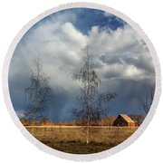 Round Beach Towel featuring the photograph Barn Storm by James Eddy