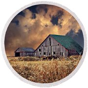 Barn Surrounded With Beauty Round Beach Towel