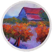 Barn Vineyard Autumn Round Beach Towel