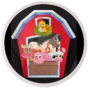 Barn With Animals Round Beach Towel