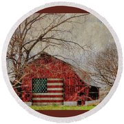 Barn With Flag In Winter Round Beach Towel