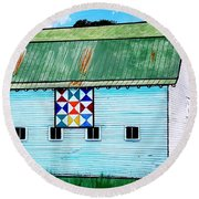 Round Beach Towel featuring the painting Barn With Quilt by Jim Harris