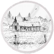 Barn With Skylight Round Beach Towel