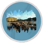 Round Beach Towel featuring the photograph Barnacles On The Beach by Thom Zehrfeld