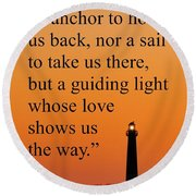 Barnegat Lighthouse With Father Quote Round Beach Towel