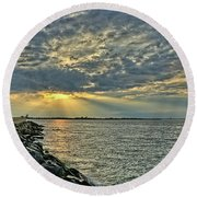 Barneget Lighthouse  New Jersey Round Beach Towel
