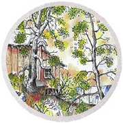 Barns And Trees 1 Round Beach Towel