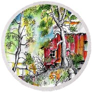 Barns And Trees 2 Round Beach Towel by Terry Banderas
