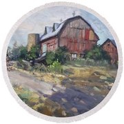 Barns In Georgetown Round Beach Towel by Ylli Haruni
