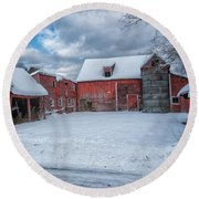 Barns In Winter II Round Beach Towel