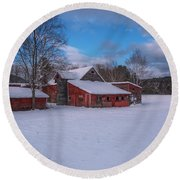 Barns In Winter Round Beach Towel