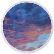Round Beach Towel featuring the painting Barnsdall Hill by Andrew Danielsen