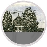 Round Beach Towel featuring the mixed media Barnstable Yacht Club Etching by Charles Harden