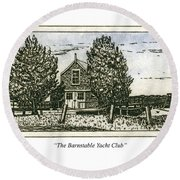 Round Beach Towel featuring the mixed media Barnstable Yacht Club Greeting Card by Charles Harden
