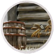 Round Beach Towel featuring the digital art Barnyard Barrel And Chickadee by Darren Cannell