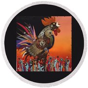 Barnyard Gladiator Round Beach Towel by Bob Coonts