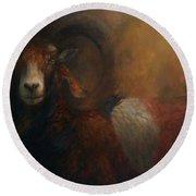 Baroque Mouflon Portrait Round Beach Towel