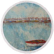Barque Au Large De Marseille Round Beach Towel