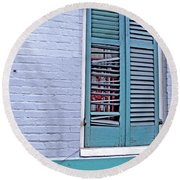 Round Beach Towel featuring the photograph Barred And Shuttered by Lynda Lehmann