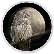 Barred Owl Moon Glow Round Beach Towel