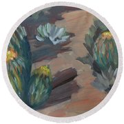 Round Beach Towel featuring the painting Barrel Cactus At Tortilla Flat by Diane McClary