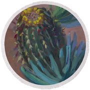 Barrel Cactus In Bloom - Boyce Thompson Arboretum Round Beach Towel