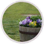 Barrel Of Flowers Round Beach Towel