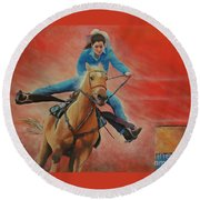 Round Beach Towel featuring the painting Barrel Racing by Jeanette French