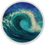 Round Beach Towel featuring the painting Barrel Wave by Darice Machel McGuire