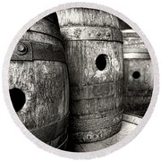 Barrels Of Laugh Past  Round Beach Towel