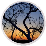 Round Beach Towel featuring the photograph Barren Tree At Sunset by Lori Seaman