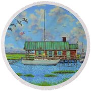 Barriar Island Boathouse Round Beach Towel