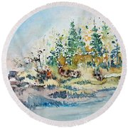 Round Beach Towel featuring the painting Barrier Bay by Joanne Smoley