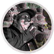 Barrington Levy Black Roses Round Beach Towel by Brad Scott